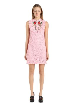 FLOWERS EMBROIDERED COTTON LACE DRESS