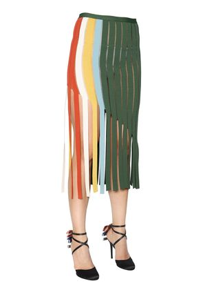 FRINGED MILANO JERSEY SKIRT