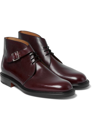 John Lobb - Combe Buckled Leather Boots - Burgundy