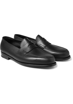 John Lobb - Grained-leather Penny Loafers - Black