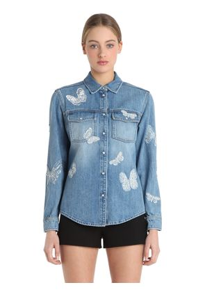 BUTTERFLY EMBROIDERY DENIM JACKET