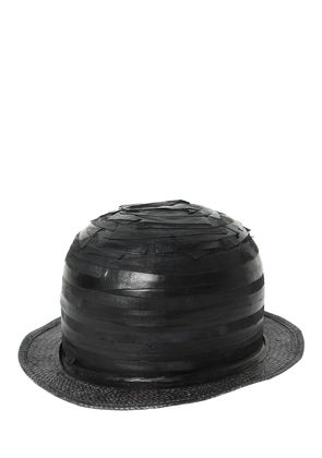 STRIPED PATCHWORK LEATHER BOWLER HAT