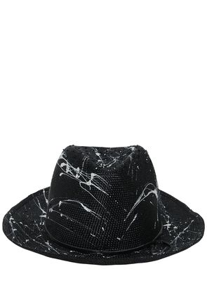 SPLATTER PAINTED WOVEN STRAW HAT