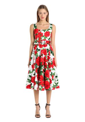 FLORAL PRINT STRETCH COTTON DRESS