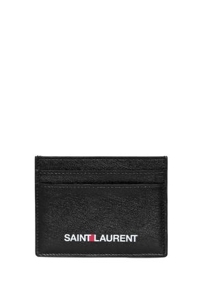 LOGO PRINT LEATHER CREDIT CARD HOLDER