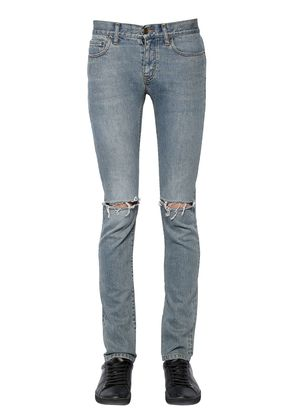15CM DESTROYED COTTON DENIM JEANS