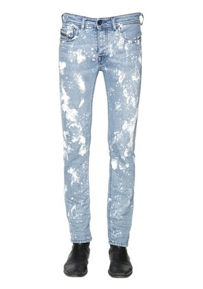 16.5CM PAINT STAINED STRETCH DENIM JEANS