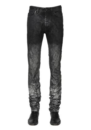 17CM WASHED & COATED STRETCH DENIM JEANS