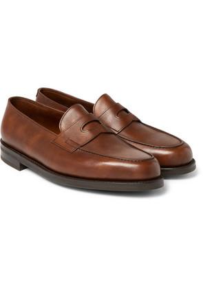 John Lobb - Lopez Pebble-grain Leather Penny Loafers - Brown