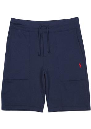 Navy cotton blend shorts