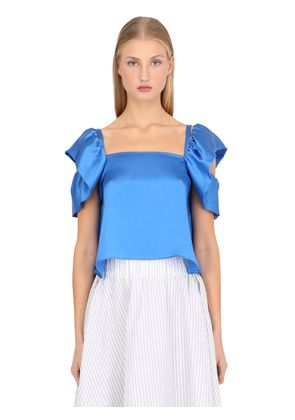 SILK SATIN TOP WITH RUFFLED SHOULDERS
