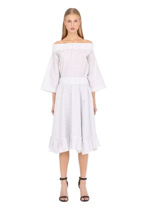RUFFLED OFF THE SHOULDER COTTON DRESS