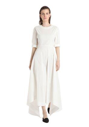 STRETCH COTTON BLEND POPLIN DRESS
