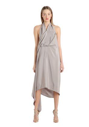 ASYMMETRIC SILK MAROCAIN DRESS
