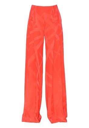 PRINTED STRETCH CADY FLARED PANTS