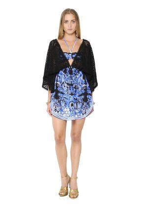 PRINTED CHIFFON & KNIT LACE CAFTAN DRESS