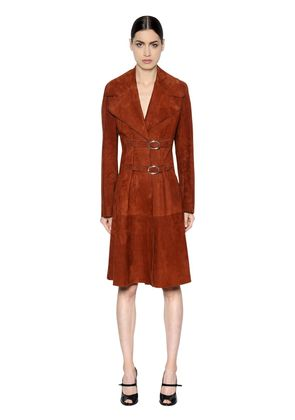 BELTED SUEDE COAT