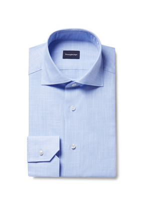 Ermenegildo Zegna - Blue Slim-fit Cutaway-collar End-on-end Cotton Shirt - Blue