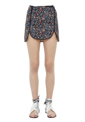 QUILTED PRINTED COTTON MINI SKIRT