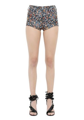 FLORAL PRINTED NAPPA LEATHER SHORTS
