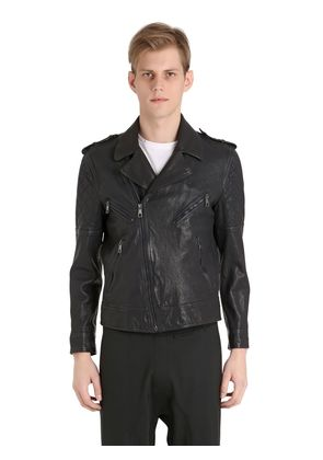 QUILTED WASHED LEATHER BIKER JACKET
