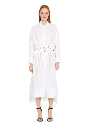LONG CUT OUT COTTON POPLIN SHIRT DRESS