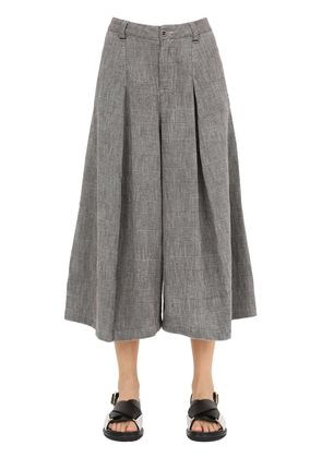 WIDE LEG COTTON HOUNDS TOOTH PANTS