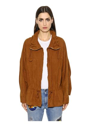 OVERSIZED ZIP-UP FAUX SUEDE JACKET