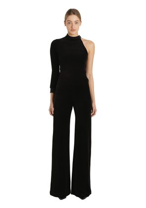 ONE SLEEVE COTTON VELVET JUMPSUIT