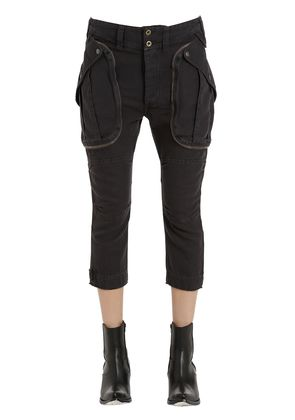 CROPPED LINEN CARGO PANTS