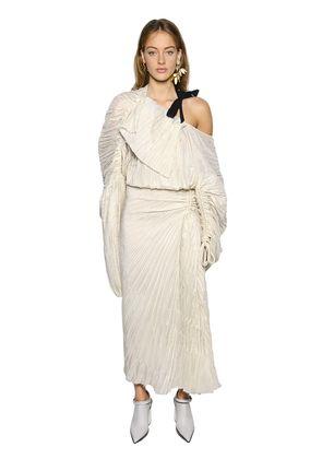 ASYMMETRIC DRAPED PINSTRIPE PLISSE DRESS