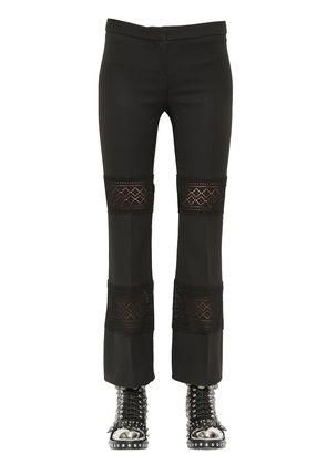WOOL & SILK BLEND CREPE & LACE PANTS