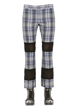 FLARED PLAID WOOL & LACE PANTS