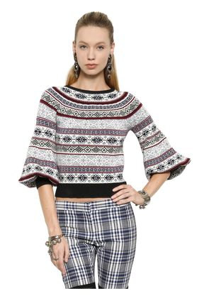 SILK, WOOL & COTTON JACQUARD SWEATER