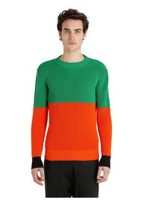 BICOLOR CHUNKY KNIT COTTON SWEATER