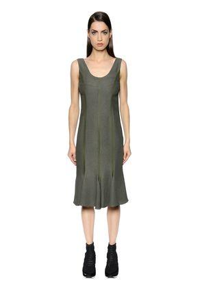 FLARED LIGHT CREPE SABLE DRESS