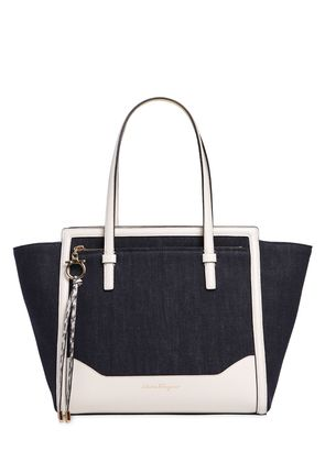 LARGE AMY DENIM & LEATHER TOTE BAG