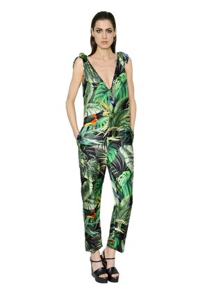TROPICAL PRINT SILK TWILL JUMPSUIT