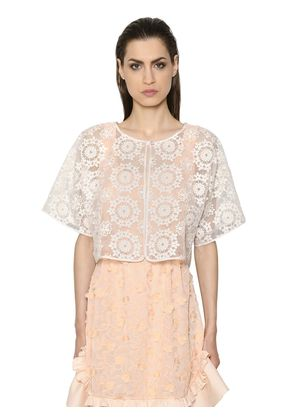 FLORAL EMBROIDERED LIGHT ORGANZA JACKET