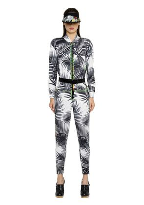 PALMS PRINTED SILK TWILL JUMPSUIT