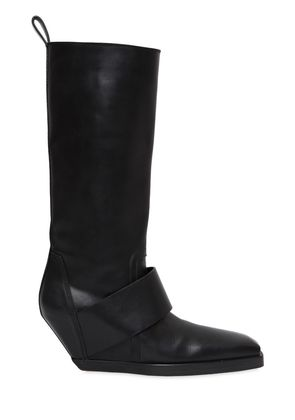 70MM LEATHER BAND WEDGED KNEE HIGH BOOTS