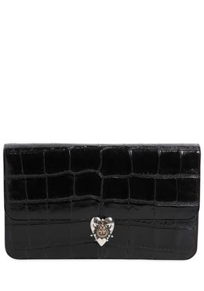 CROC EMBOSSED PATENT LEATHER CLUTCH