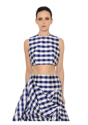 RAW SILK GINGHAM CROPPED TOP