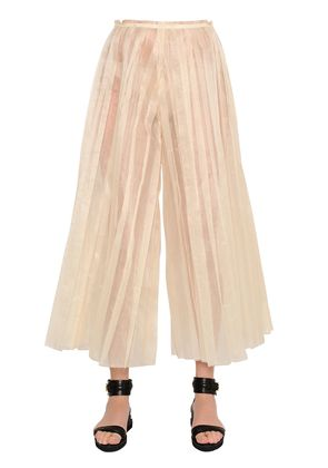 CROPPED PLEATED SILK ORGANDY PANTS