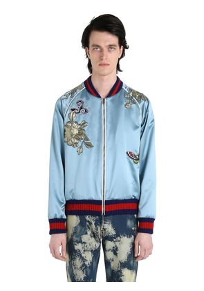 EMBROIDERED PATCH SILK DUCHESSE BOMBER