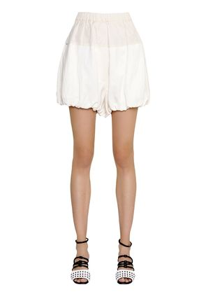 PUFFED VISCOSE & LINEN SHORTS