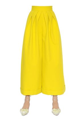 WIDE & CROPPED COTTON CREPE PANTS