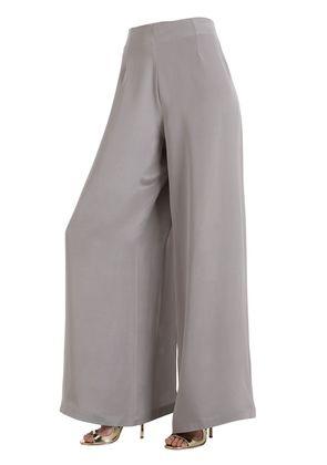 SILK CREPE MAROCAIN PANTS WITH SLITS