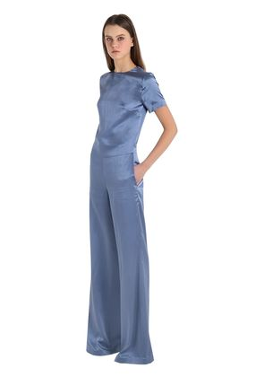 OPEN BACK SILK CREPE SATIN JUMPSUIT