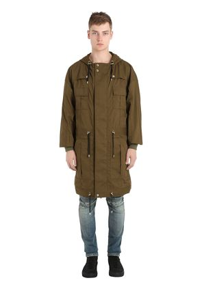MULTI POCKET HOODED COTTON CANVAS PARKA